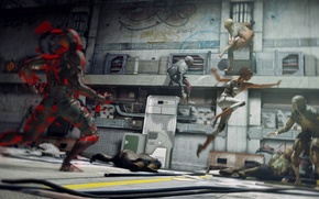 Picture people, jump, creatures, battle, Remember Me, infected