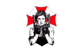 Picture cinema, sake, girl, zombie, gun, blood, pistol, logo, weapon, woman, Resident Evil, Milla Jovovich, Alice, ...