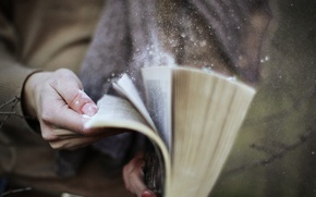 Picture dust, hands, book