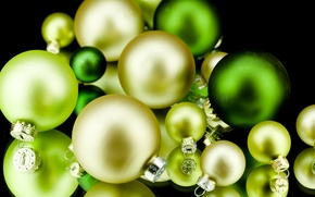 Picture balls, background, holiday, balls, black, toys, yellow, New Year, green, Christmas, the scenery, Christmas, New ...