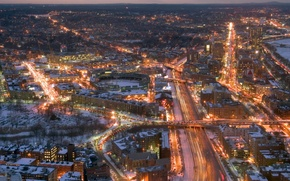 Picture winter, road, snow, trees, night, bridge, the city, lights, building, home, USA, Boston, Massachusetts