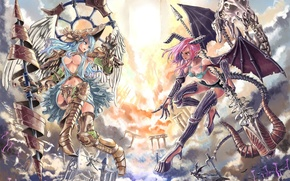 Picture girl, fight, angel, anime, the demon, art