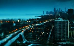 Wallpaper Chicago, skyscrapers, USA, winter, lights, beautiful, America, building, sunset