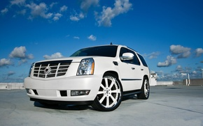 Picture white, the sky, clouds, white, sky, the front, clouds, Cadillac, cadillac, escalade, the Escalade