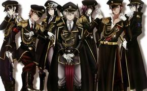 Picture umbrella, white background, gloves, guys, cap, military uniform, yata misaki, aiguillettes, epaulettes, project key, mikoto …