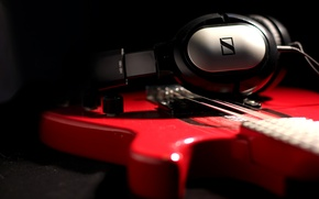 Picture guitar, headphones, still life, hd 180, sennheiser