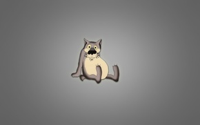 Picture wolf, grey background, sitting, there once was a dog, paunchy