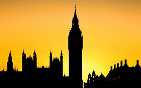 Picture the sky, landscape, sunset, England, tower, London, silhouette
