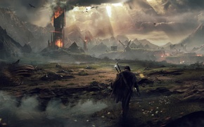 Picture The sky, Clouds, Mountains, Smoke, Fire, Light, Sword, Warrior, The building, Sparks, Flame, Art, Ghost, …