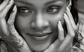 Wallpaper model, photo, Marcus Piggott, close-up, Mert Alas, Rihanna, Rihanna, singer, face, smile, Vogue, black and ...