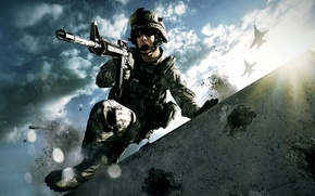 Picture aviation, war, attack, aircraft, shooting, Creek, Battlefield, us army, emotion