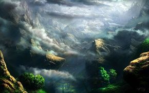 Picture greens, clouds, trees, mountains, rocks, height, art, Fel-X