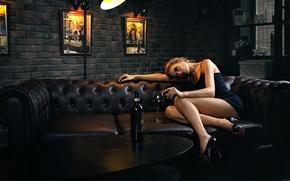 Picture girl, loneliness, sofa, wine, bottle, legs