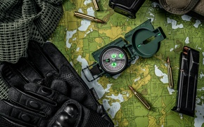 Picture map, fabric, gloves, bullets, cartridges, compass