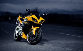 Picture road, night, yellow, black, Yamaha, black, road, yellow, night, Yamaha, Superbike, superbike