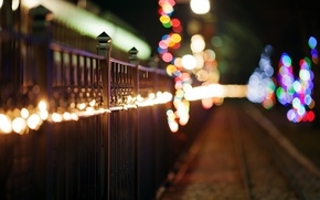 Picture winter, road, lights, the fence, fence, rods, garland, colorful, holidays, bokeh, iron, metal
