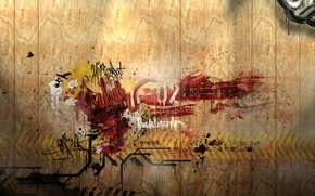 Picture wall, the inscription, graffiti, wooden