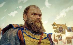 Picture male, beard, mail, Bobrok Volynsky, terrible, MATORIN Victor, The hero of the battle of Kulikovo