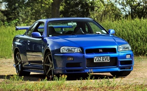 Picture blue, background, Nissan, Nissan, GT-R, Skyline, the front, Skyline