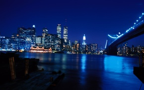 Wallpaper night, bridge, the city, river, Wallpaper, skyscrapers, wallpaper, new York, new york, world trade center, ...