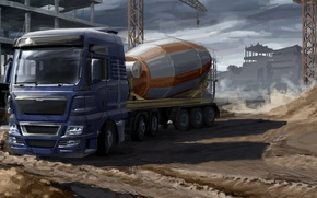 Picture model, art, mixer, van, car, painting, the trailer, trailer, tractor, cargo, the truck, euro truck, ...