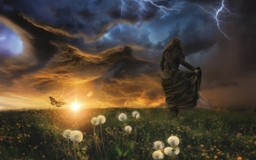 Wallpaper the storm, girl, clouds, butterfly, lightning, meadow, dandelions