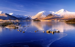 Picture ice, winter, snow, mountains, lake