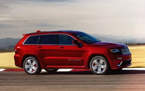 Picture machine, red, speed, jeep, red, SRT, Jeep, Grand Cherokee