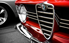 Wallpaper macro, red, Alfa Romeo, red, logo, Alfa Romeo, macro