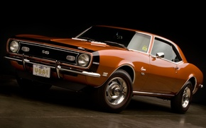 Picture orange, background, coupe, Chevrolet, Camaro, Chevrolet, Camaro, the front, 1968, Muscle car, 350, Muscle car