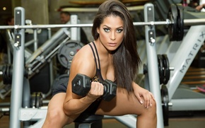 Picture look, pose, fitness, rod, training, simulators, gym, fitness, gym, training, dumbbell, dumbbells, gym