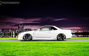Wallpaper white, night, the city, tuning, GT-R, Nissan, Nissan Skyline, R34, skyline