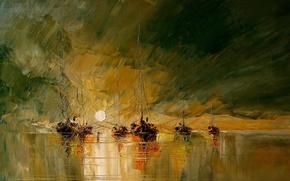 Picture sea, the sun, figure, picture, boats, art