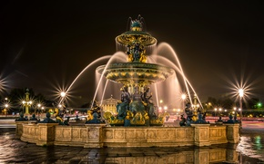 Picture road, night, lights, France, Paris, lights, puddles, fountain, sculpture, Fontaines de la Concorde