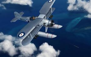 Picture the plane, art, bomber, British, WW2., torpedo, Fairey Swordfish, seaplane