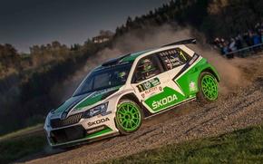 Picture The sky, Dust, Turn, Rally, Rally, Skoda, Fabia, WRC2