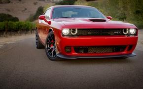 Picture Dodge, Challenger, Red, Hellcat, Wheels, Blakc