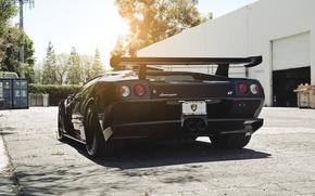 Picture the sun, black, Lamborghini, black, diablo, gtr, sun, Lamborghini, gtr, Diablo