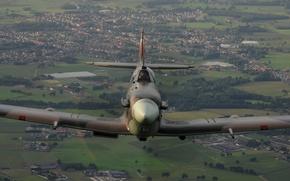 Picture landscape, fighter, flight, Supermarine, Spitfire Mk V