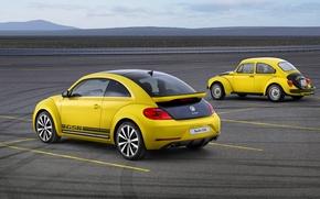 Picture Yellow, Retro, Volkswagen, Beetle, Two, GSR, Beatle