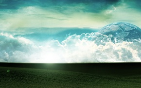 Picture the sky, grass, clouds, light, planet