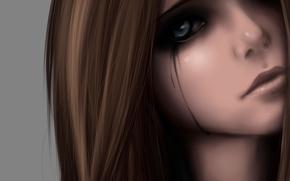 Picture eyes, girl, face, sadness, anime, tears, art, zackargunov