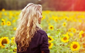 Picture field, summer, girl, light, sunflowers, flowers, face, smile, heat, mood, glade, hair, back, color, jacket