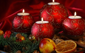 Picture holiday, balls, new year, Apple, orange, Christmas, candles, christmas, new year, needles