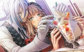 Picture hands, ice cream, gloves, two, cream, dessert, flirting, Amnesia, Amnesia, Heroine, Ikki, by Hanamura Mai