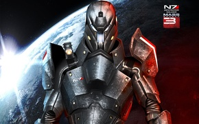 Picture metal, planet, art, armor, Mass Effect 3, Destroyer