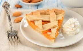 Picture food, cream, plate, pie, plug, apricot, dessert, cakes, almonds, filling