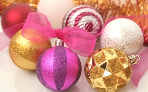 Picture white, purple, macro, pink, holiday, new year, tape, white, gold, gold, new year, bow, pink, ...