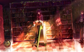 Wallpaper books, light, headphones, library, steins gate, girl, makise kurisu, robot
