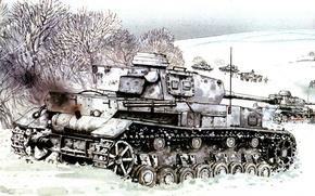 Picture winter, field, snow, figure, tanks, Pz.Kpfw. IV, German, The great Patriotic war, average
